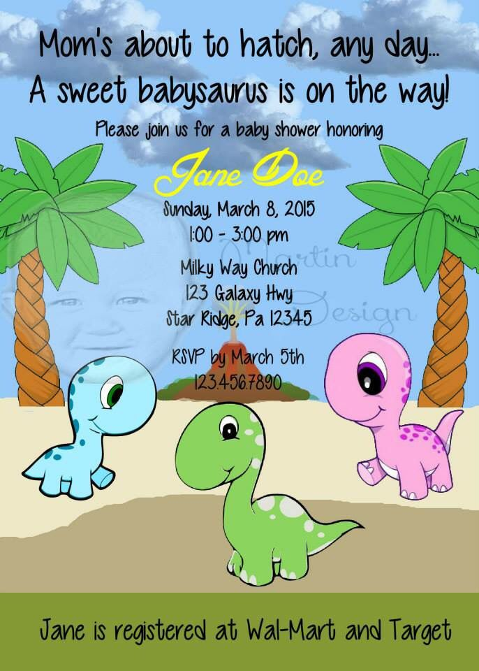 Baby Dinosaur baby shower invitation by Martin design | Baby Shower ...