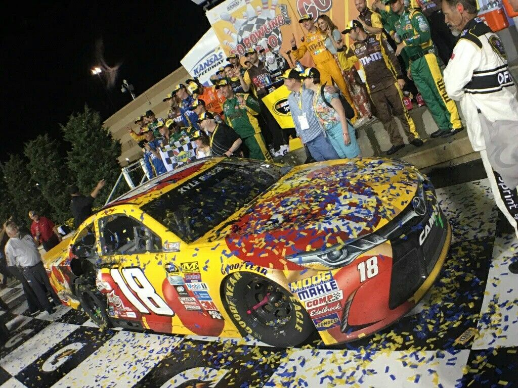The #18 M&M\'s Toyota Camry of Kyle Busch in Victory Lane at Kansas ...