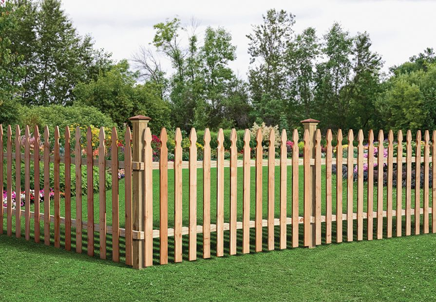 Outdoor Essentials French Gothic Spaced Picket Fence Wooden Fence Panels Garden Fence Panels Wood Picket Fence