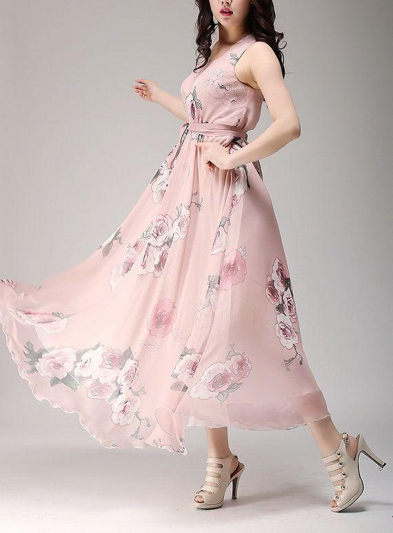 Spring summer chiffon long dress lady women clothing gown (SSY162)