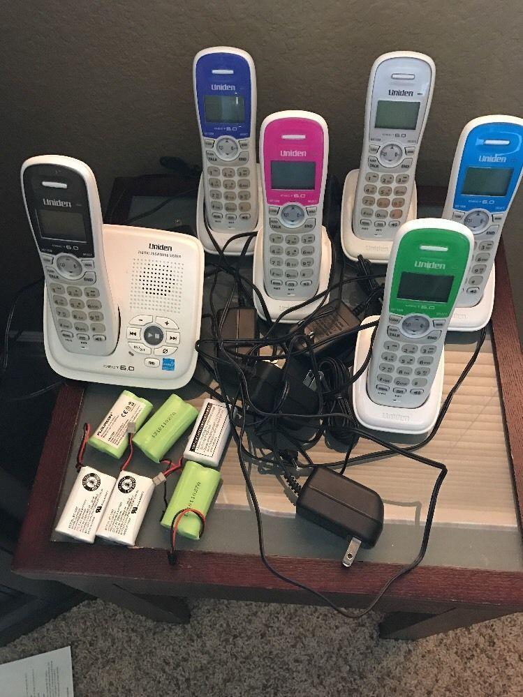 Uniden 6 Handset Cordless Phone Answer Machine Dect1480 6c Digital Dect 6 0 Uniden Phones For Sale Phone Online