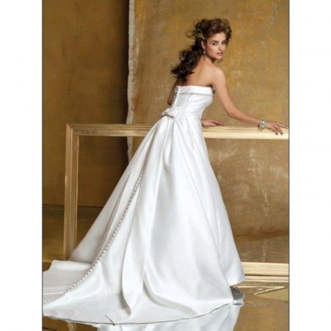 Chiffon Satin A-line Spring Sleeveless Empire White Wedding Dresses
