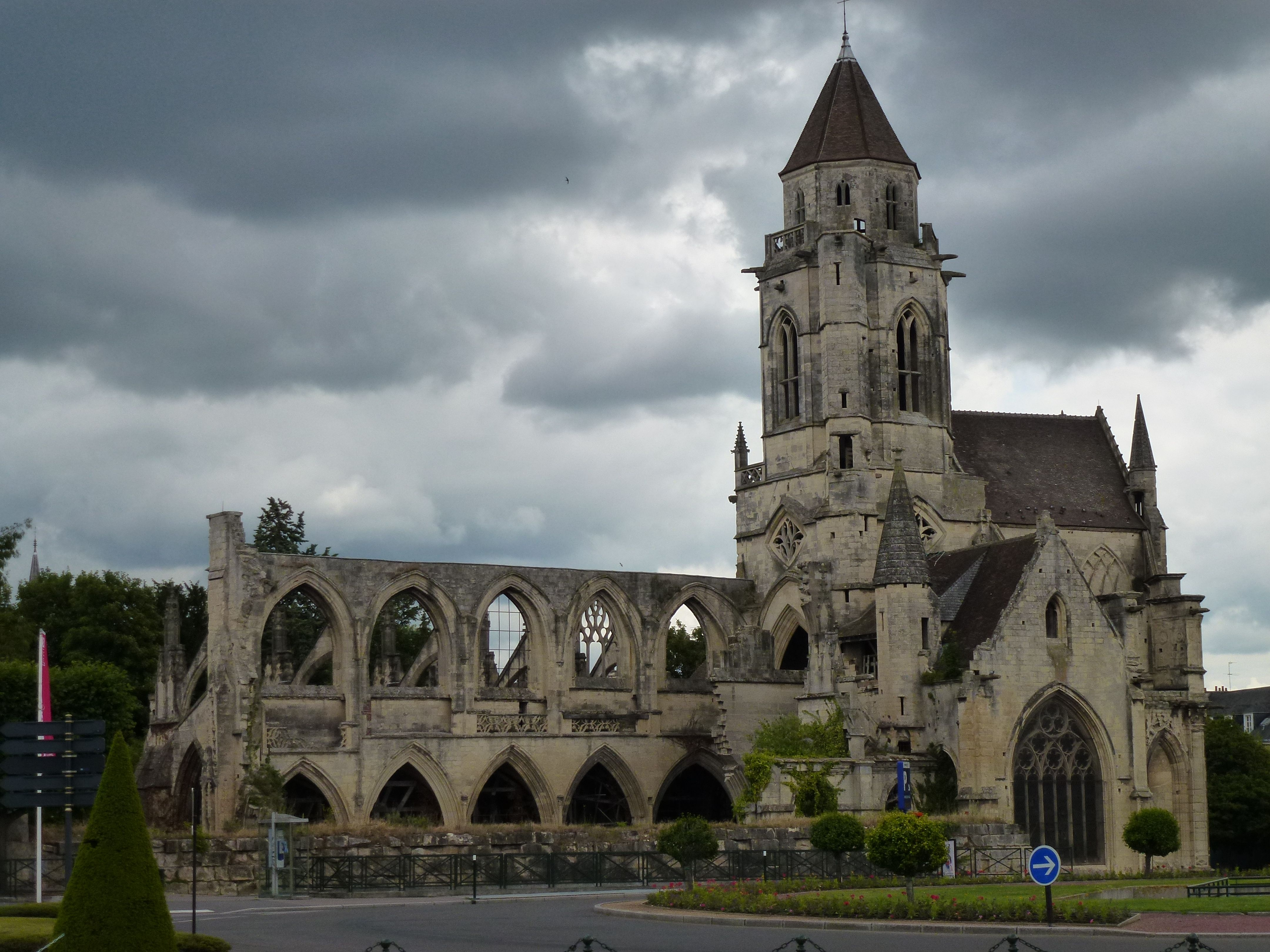 The ruins of 'St-Etienne-le-Vieux' in Caen (Normandy, France). First recorded in 1066, but it was probably built earlier. The old church was partly destroyed in a bombing of 1944.