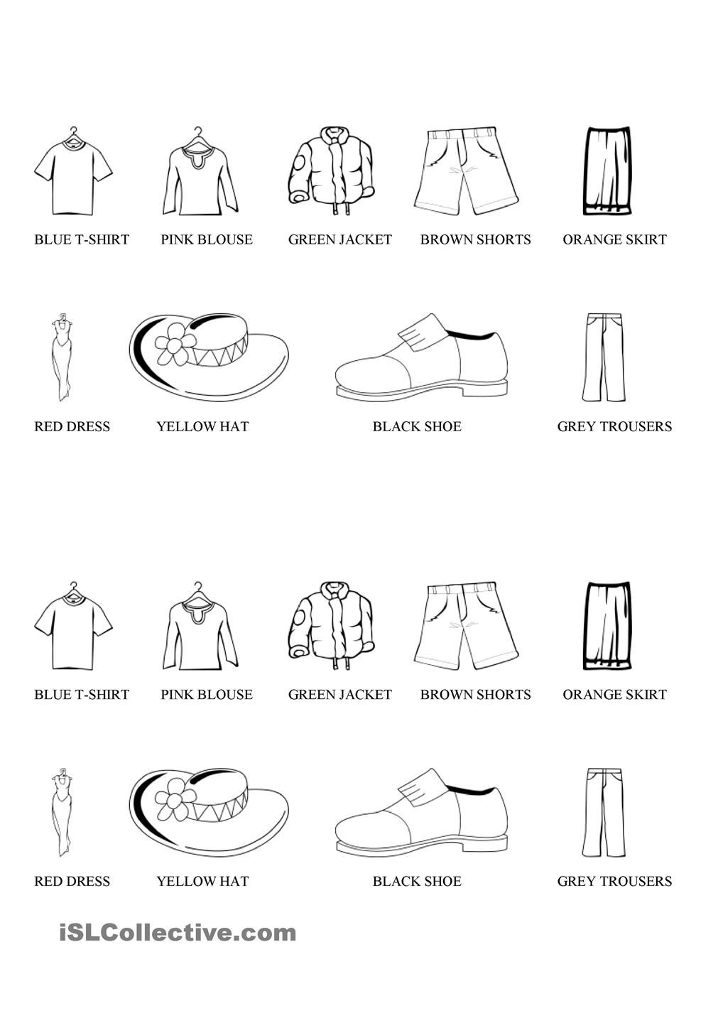 Clothes Colouring Worksheets For Kids Color Worksheets English Lessons [ 1440 x 1018 Pixel ]