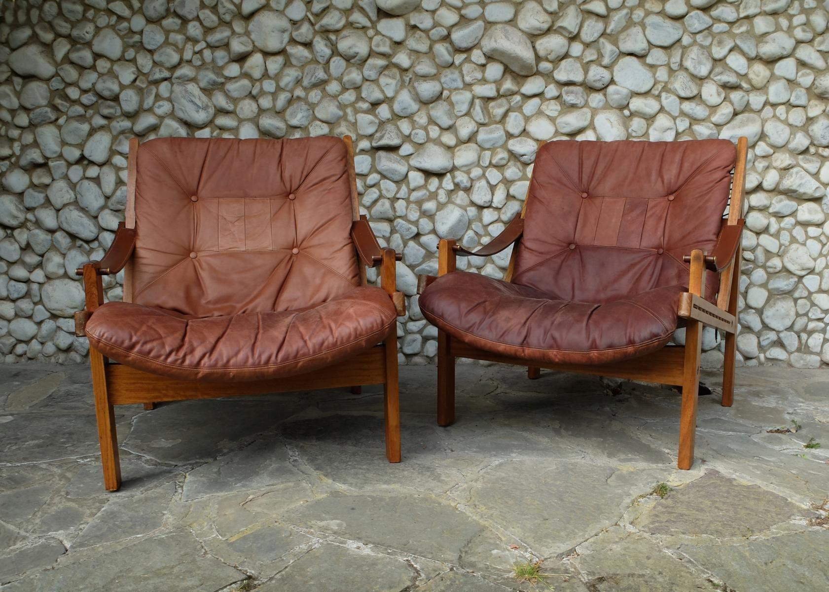 Scandinavian Hunter Lounge Chairs By Torbjorn Afdal For Bruksbo 1960s Set Of 2 1 Vintage Scandinavian Furniture Chairs For Sale Lounge Chair