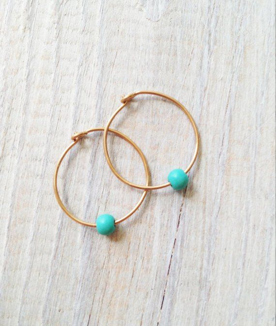 Gold Hoop Earrings Turquoise Hoops Earring Silver Simple Round Ea