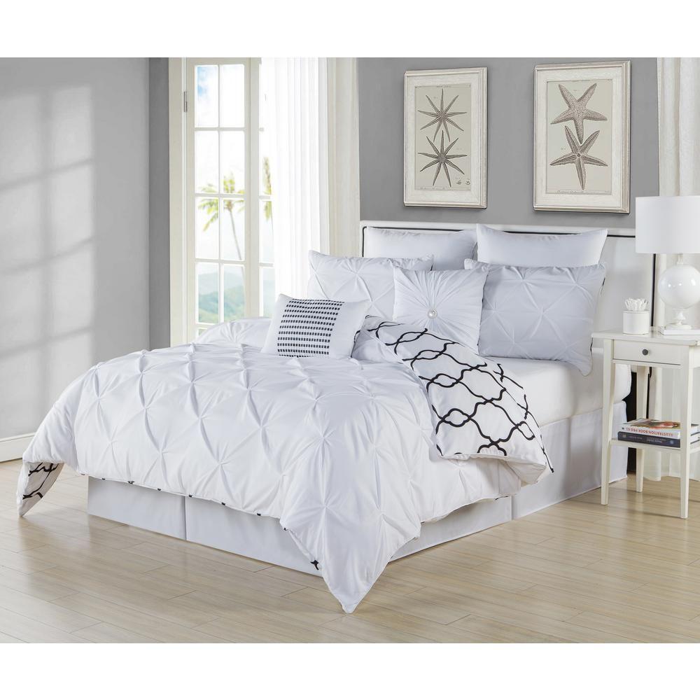 Duck River Esy Pintuck Piece White Queen Comforter Set