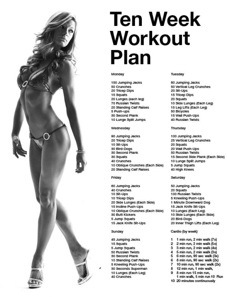 Ten Week Workout Plan Get results from your home Fit Club – Weekly Exercise Plans