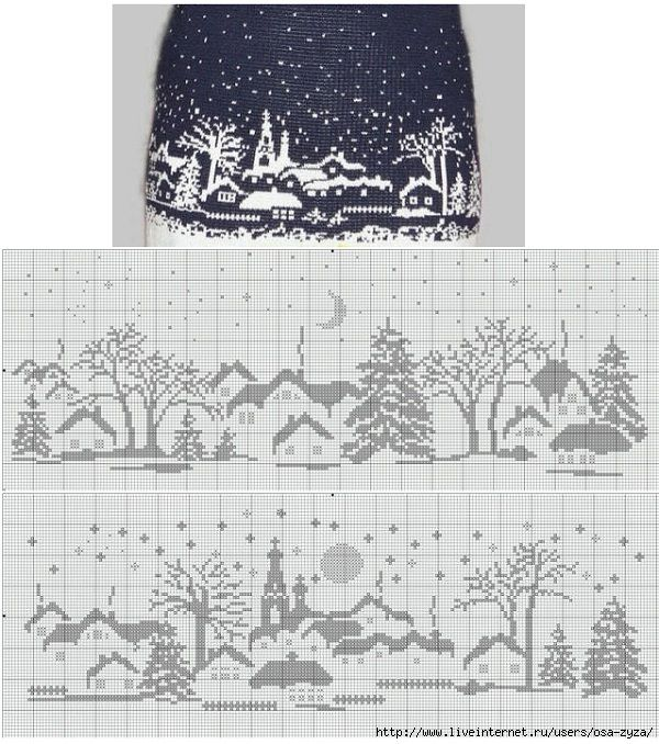 knit colorwork snow scene http://www.pinterest.com/source ...