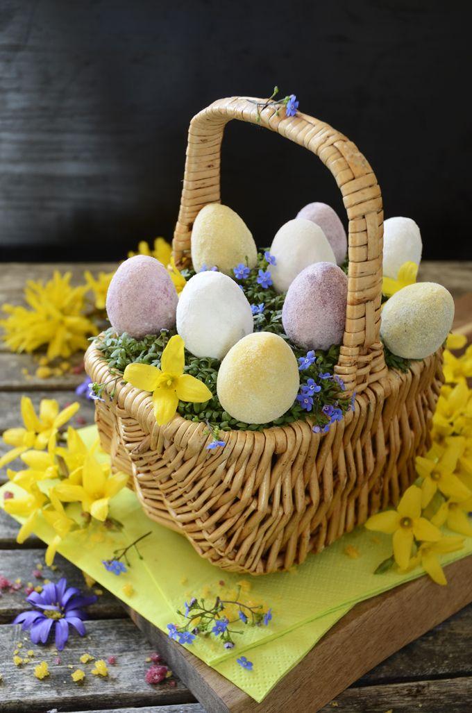Chocolate marzipan Easter eggs with royal aquafaba coating