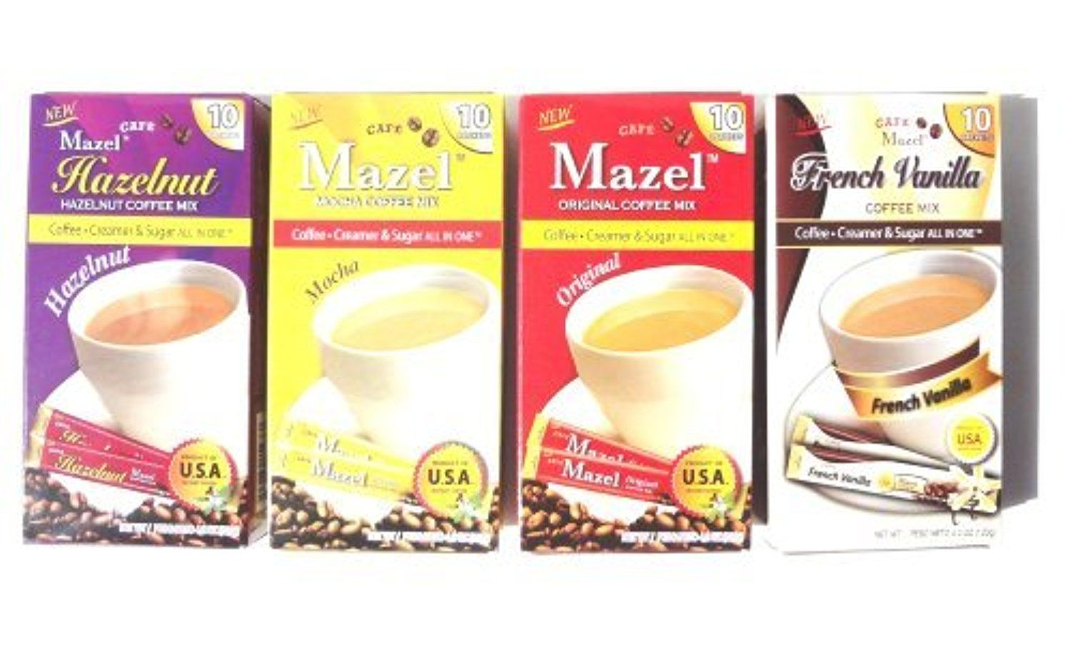 Instant Coffee Packets with Cream & Sugar 4 Flavors
