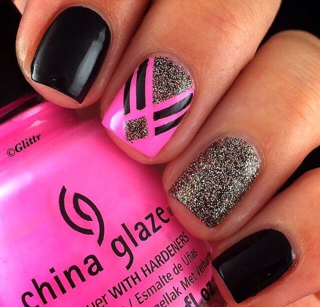 Funky hot pink nail design nail design pinterest hot pink funky hot pink nail design prinsesfo Image collections