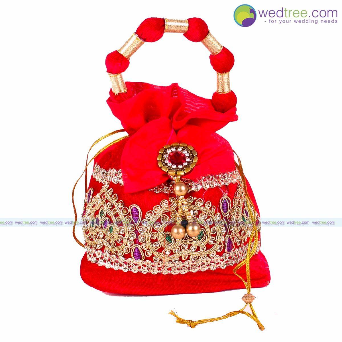 Potli Bag Velvet Rich Golden Zari With Bow Wedding