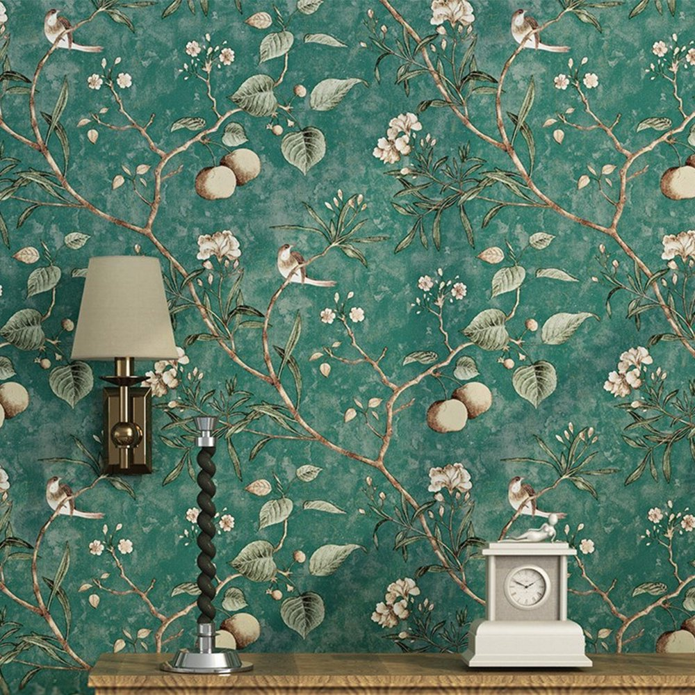 Wallpaper Paper 20 8 X 32 Feet Modern Flower Bird Waterproof Removable Wallpaper Natural Self Adhesive Wall Paper Non Woven Fabric Wall Covering For Home Use Fabric Covered Walls Tree Wallpaper Bedroom Green Wallpaper