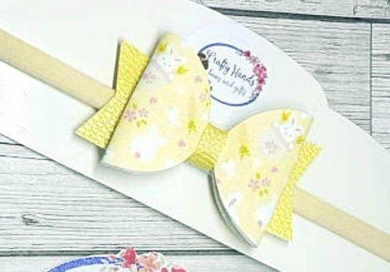 Lemon baby bow, soft yellow headband, baby headband, rabbit headband, rabbit bow, Easter headband, E