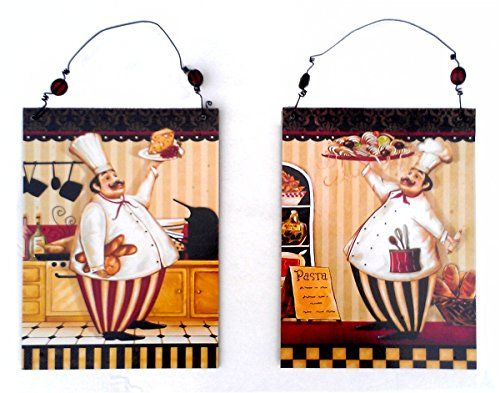 Fat Chef Wall Plaques ~ Bistro Kitchen Decor (Set Of 2) Momentum Brands Http