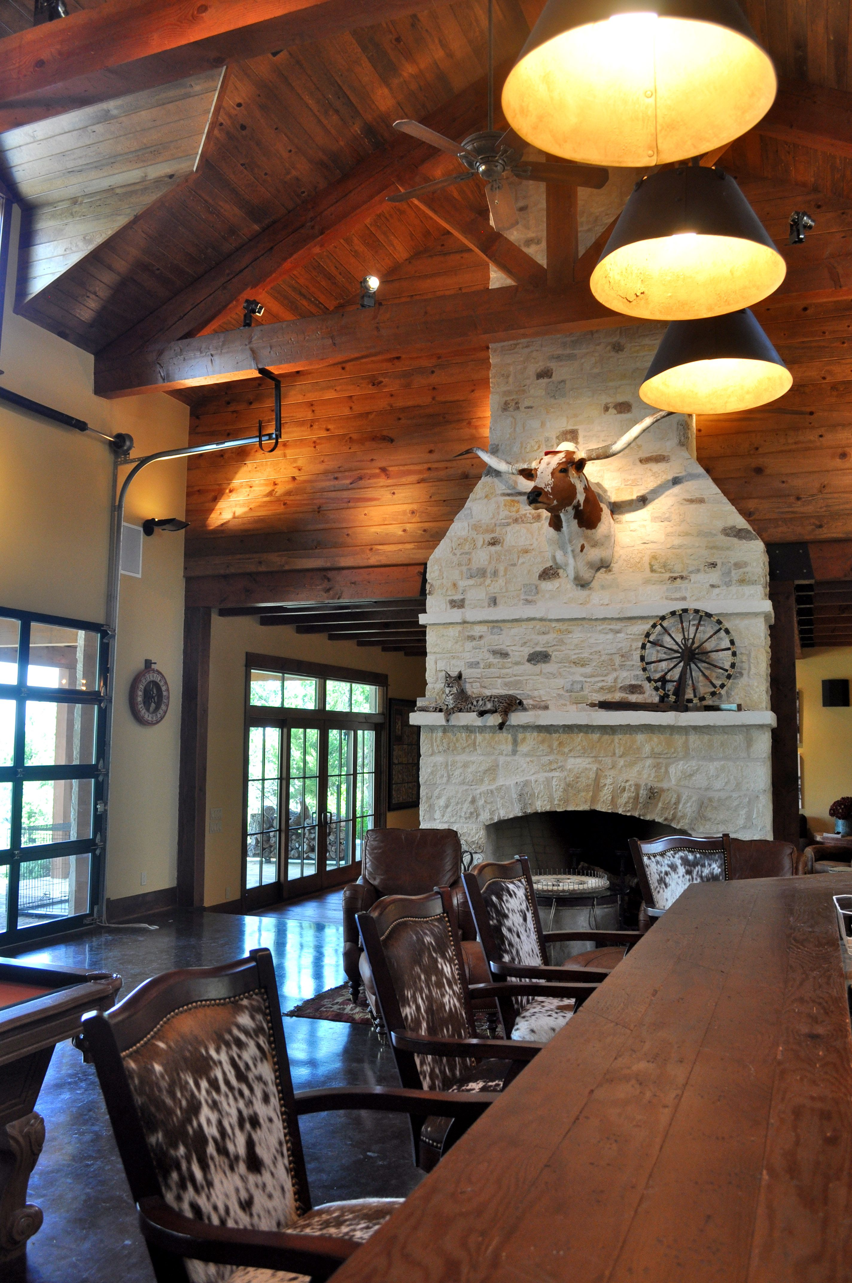 Texas Hill Country Style Ice House With Antique Bar Rock Fireplace