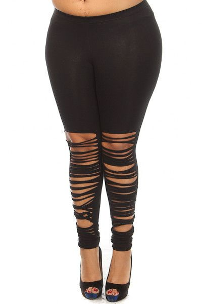 Plus Size Razor Bottom Leggings