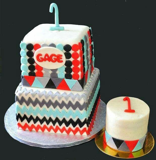 Chevron and dot pattern geometric birthday cake with matching smash ...