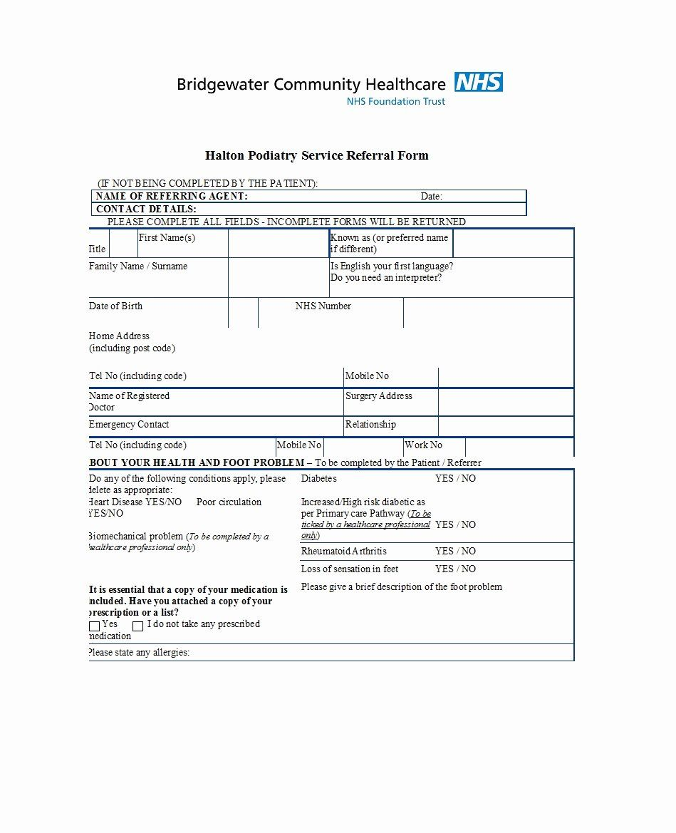 Physician Referral Form Template Inspirational 50 Referral Form Templates Medical General Template Lab Templates Referrals Folded Business Cards