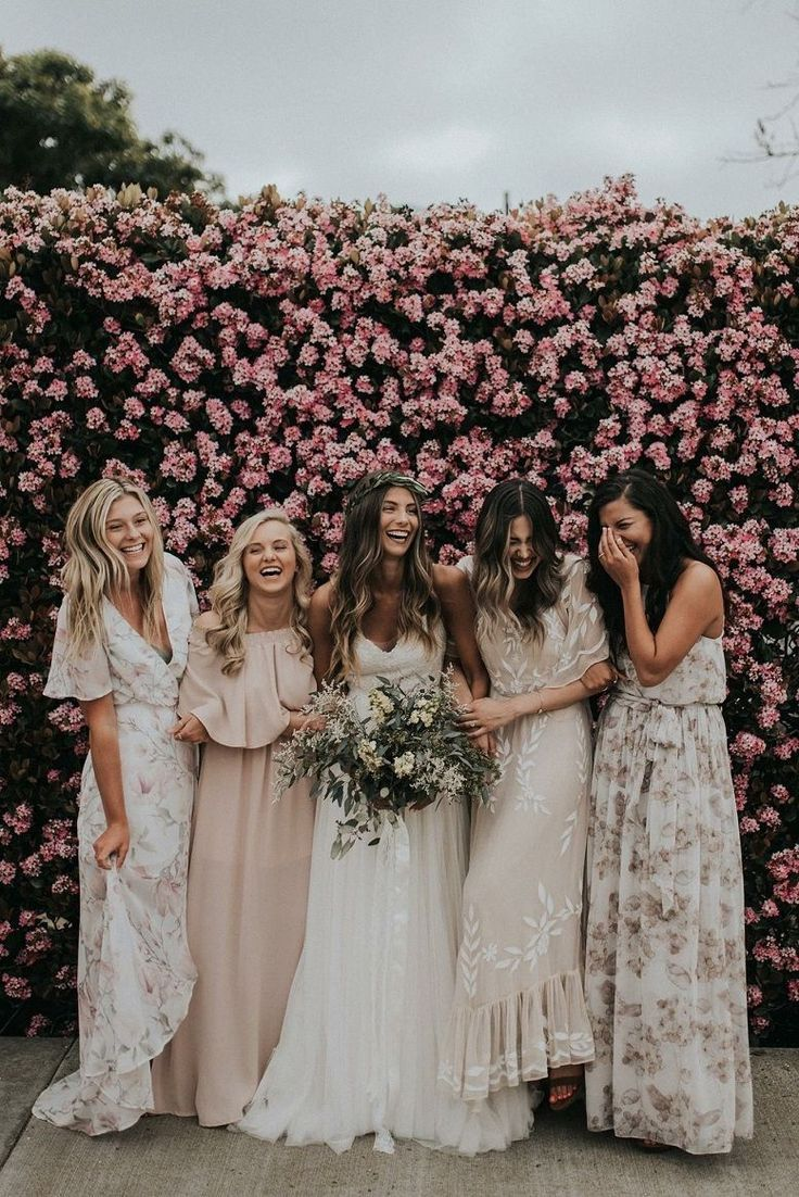 Beautiful Mismatched Bridesmaid Dresses For A Significant Day Bohemian Bridesmaid Dress Bridesmaids Dress Inspiration Printed Bridesmaid Dresses