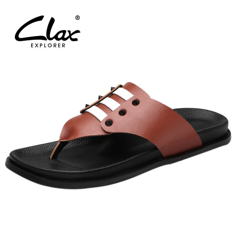 7151d51b8a77 Clax Men Casual Flip Flops 2017 Summer Pu Leather Slippers for Male Beach Sandals  Shoes Soft