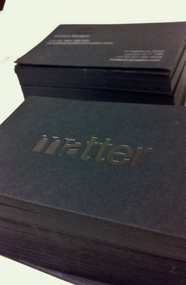 Matter business cards clear gloss black foil gf smith ebony take a look at our latest high quality business card project that successfully combines design the high quality print process clear gloss black foil and reheart Images
