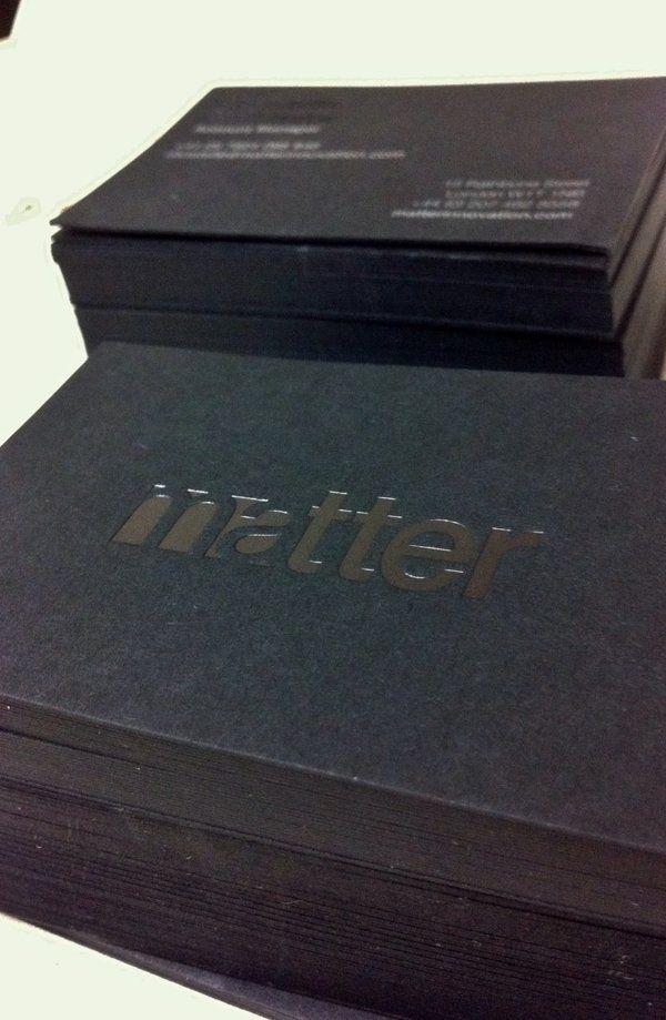 Matter Business Cards | Clear Gloss Black Foil - GF Smith Ebony ...