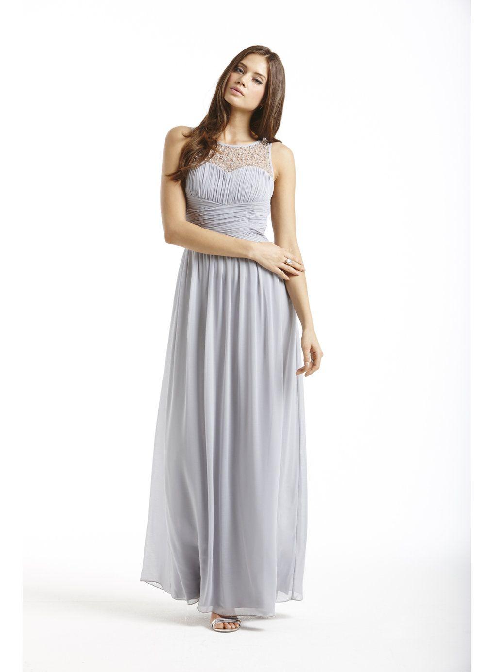 Little Mistress Grey Embellished Maxi Dress