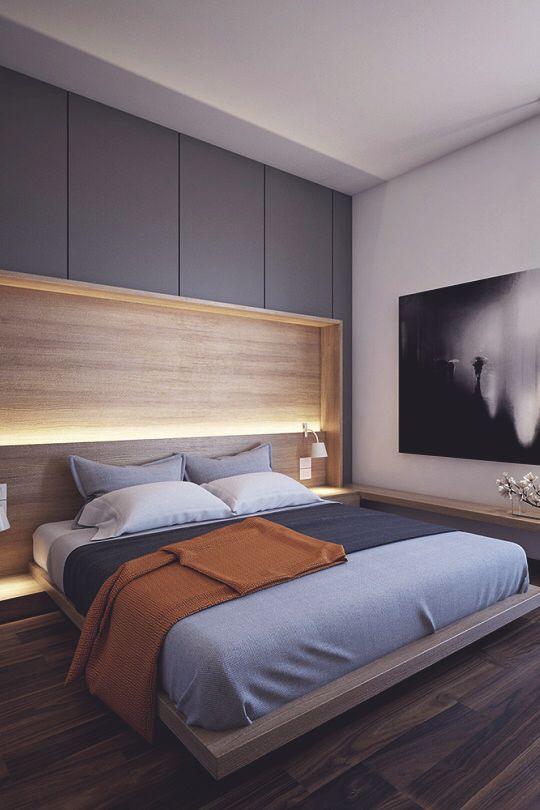 Recessed shelf behind the bed … | ντουλαπα | Luxur…