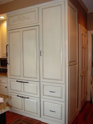 Before and after, stock oak cabinets, painted and lightly ...