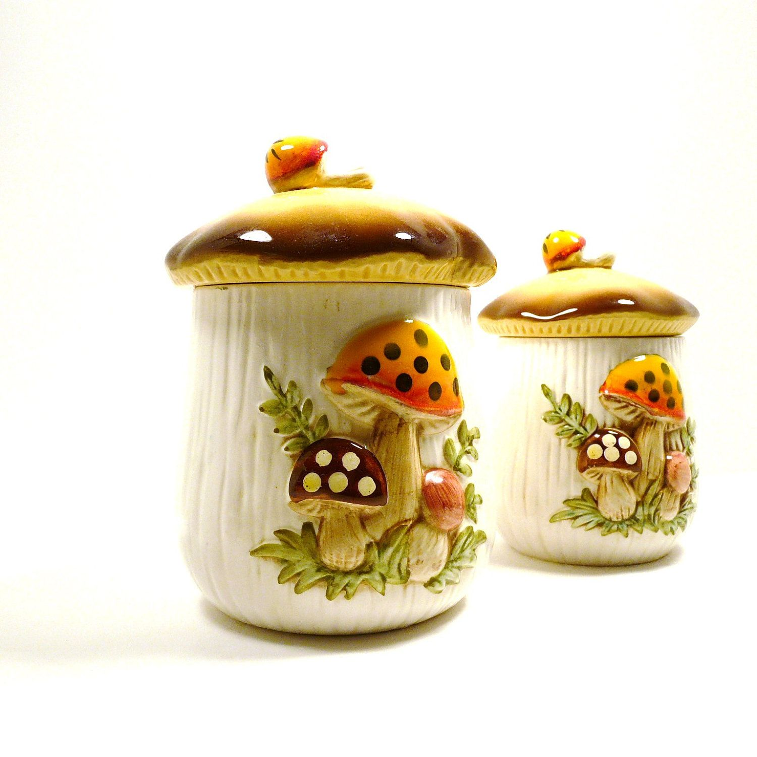 kitchen canisters | vintage mushroom canisters fall /// retro ...