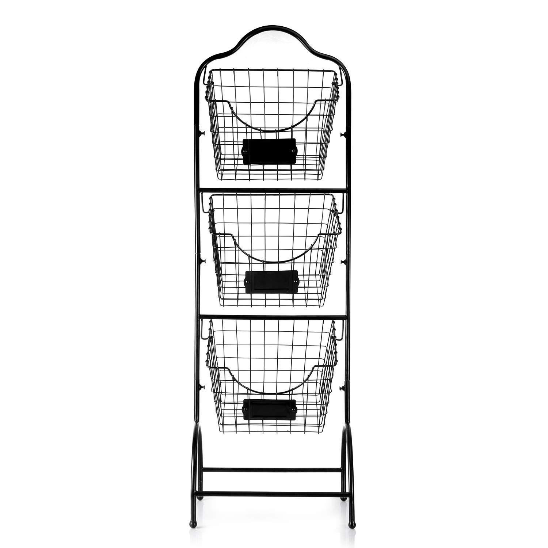 Sunny Living 3 Tier Market Basket Stand Kitchen Fruit Storage Basket For Kitchen Bathroom Towel Basket Display Rack Black Fruit Storage