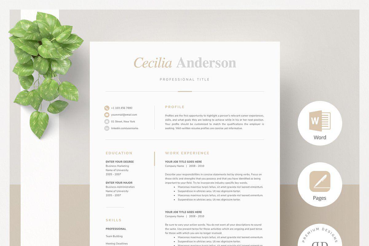 Modern 2 Page Resume Template (с изображениями)