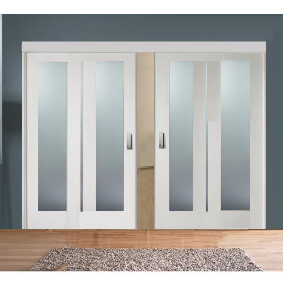 Sliding Room Divider with White Obscure Glazed Doors Sliding room