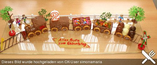 Zug Kuchen Mit Aufgemalten Schoko Schienen Torty