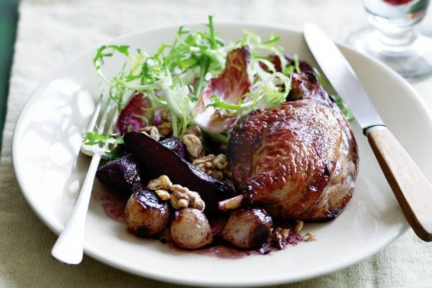 Rich roast duck is complemented by the sweetness of pears and the crunchiness of walnuts.