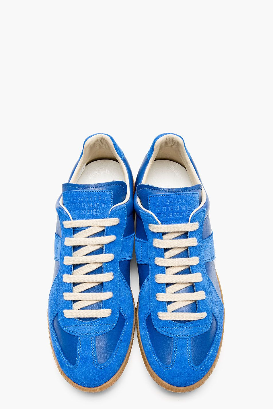 new styles f3d53 4ce4b MAISON MARTIN MARGIELA - Blue Leather   Suede Replica Sneakers
