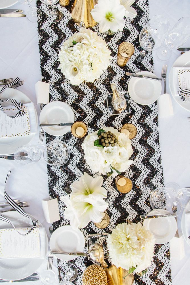Black And White Chevron Table Runner With Gold Accents | Jenny U0026 Gregu0027s  Fairmont Miramar Wedding
