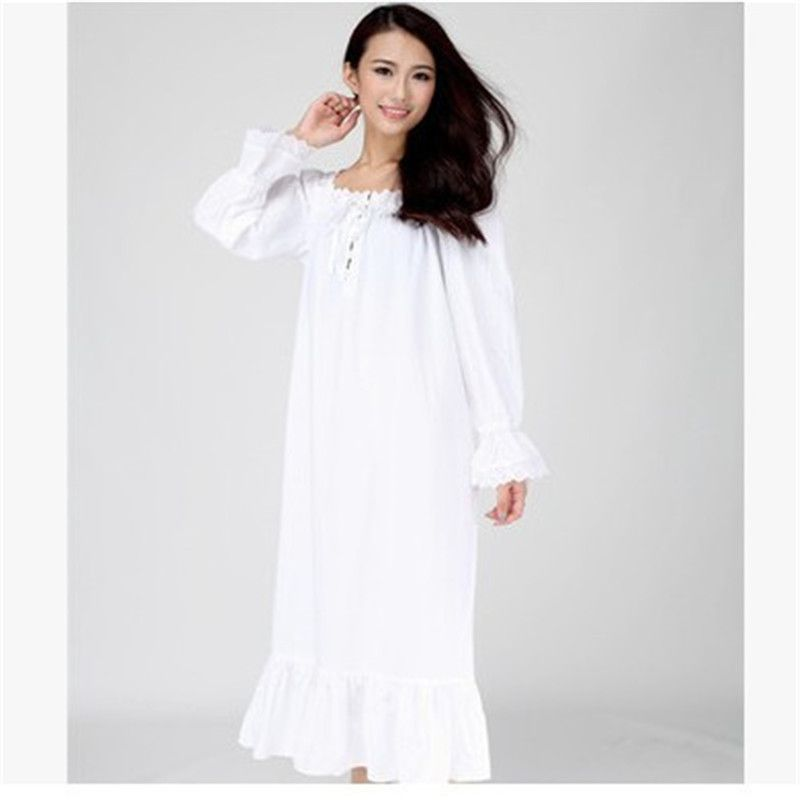 Women Nightgowns Long White Night Dress Woven Cotton Thin Spring And ...
