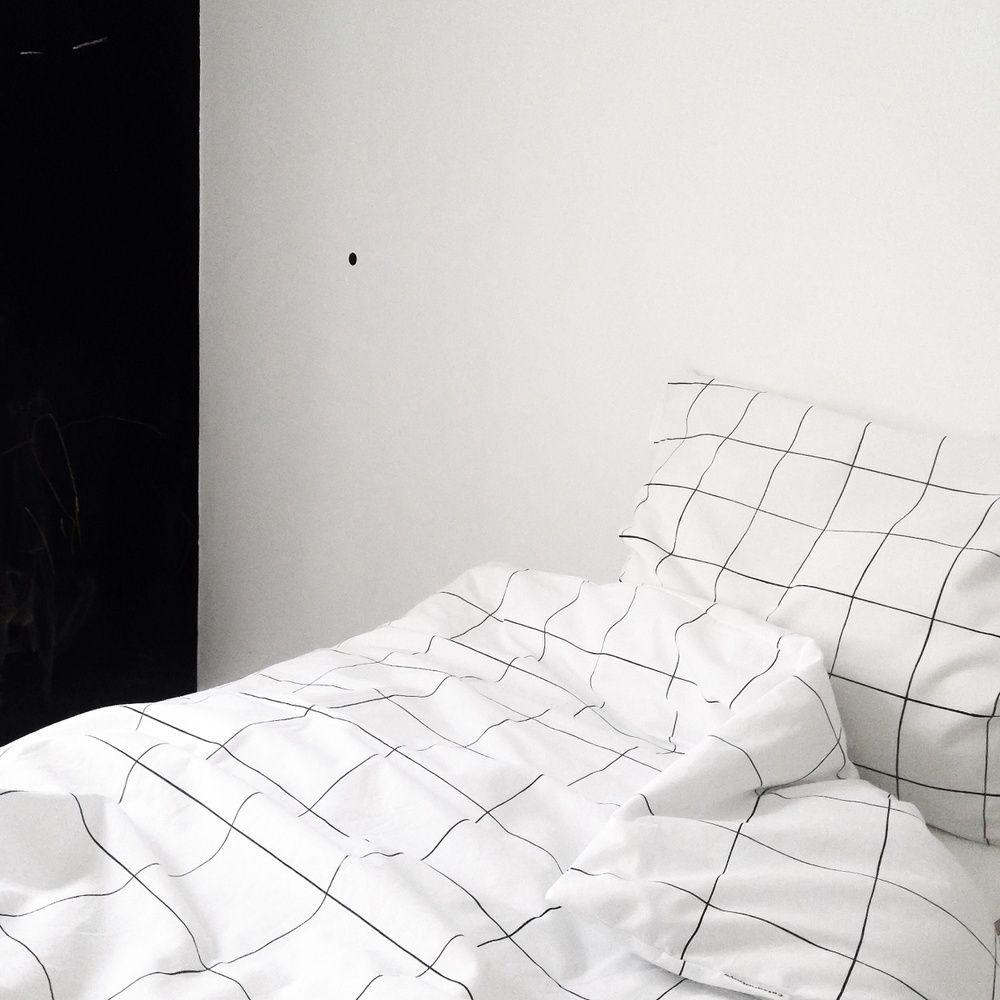 Grid Douvet Cover Pilowcase White Duvet Bedroom Interior Home