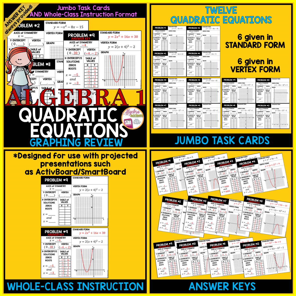 Graphing quadratic equation review jumbo cards standard form a great review for quadratic equations given the quadratic equation in either standard form or falaconquin