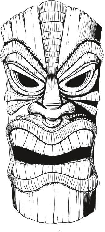 Tiki Drawings Illustration | This tiki mask is for a longboard deck ...