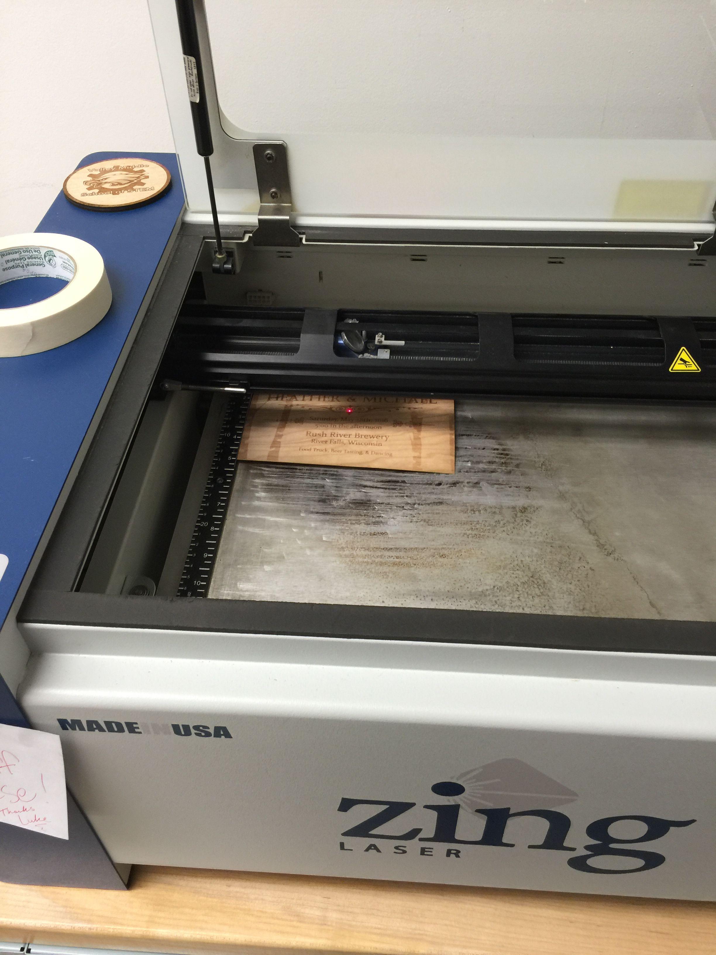 30 Watt Epilog Zing Laser Engraving Wood Veneer Wedding Invite Laser Engraved Wood Laser Engraving Labs Project