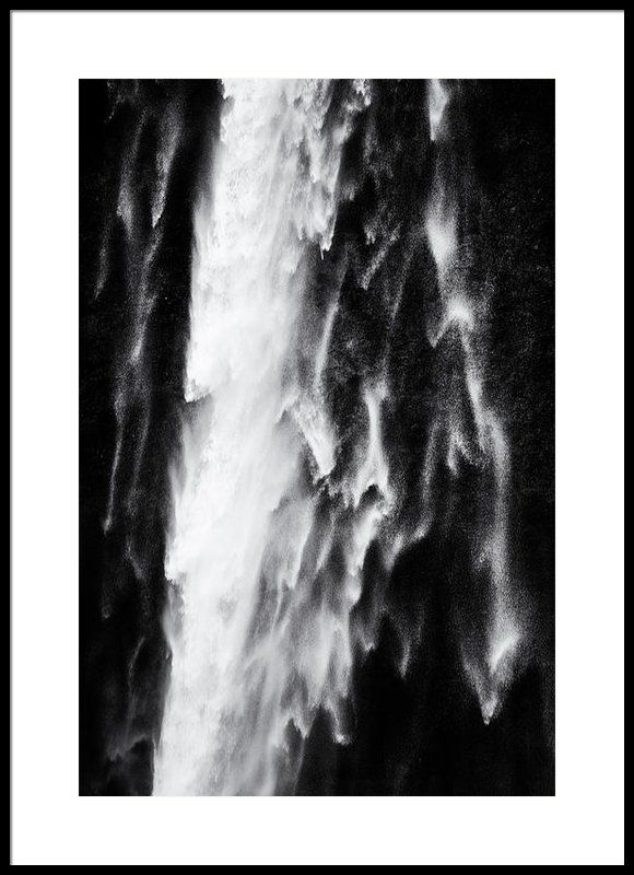 Framed fine art print waterfall detail black and white with stark contrast stunning seljalandsfoss
