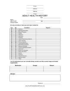 This Adult Health History Form Is Useful To Collect Health