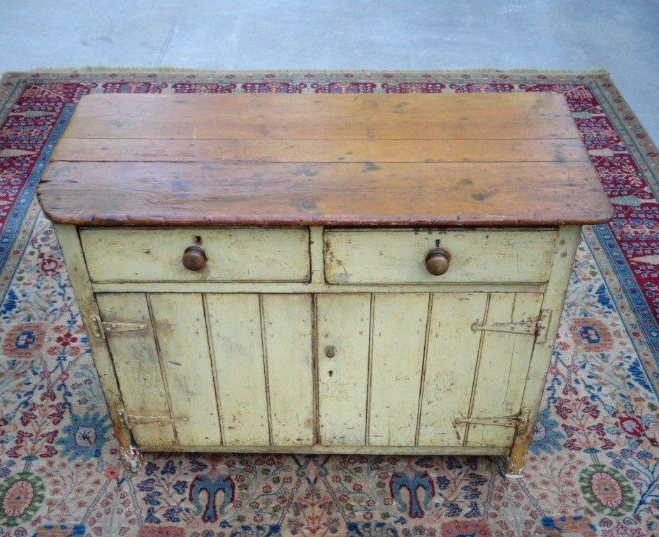 Antique Primitive Southern Pine Yellow Paint Pie Safe Jelly Cupboard Cabinet - Antique Primitive Southern Pine Yellow Paint Pie Safe Jelly