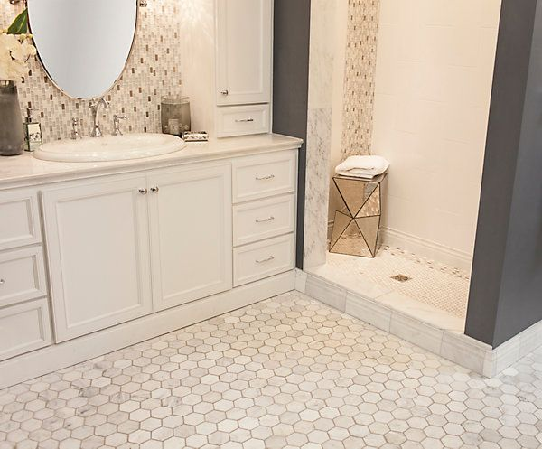 2 hampton carrara marble tile love love love for Carrara marble bathroom floor designs