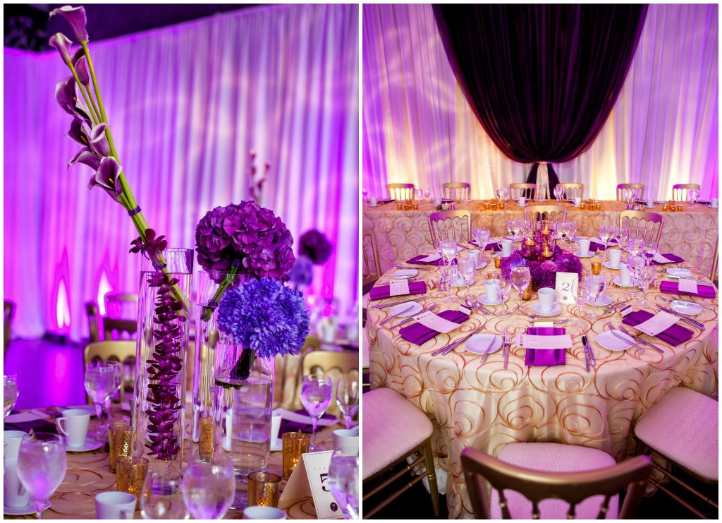 Vibrant gold and shades of purple wedding reception
