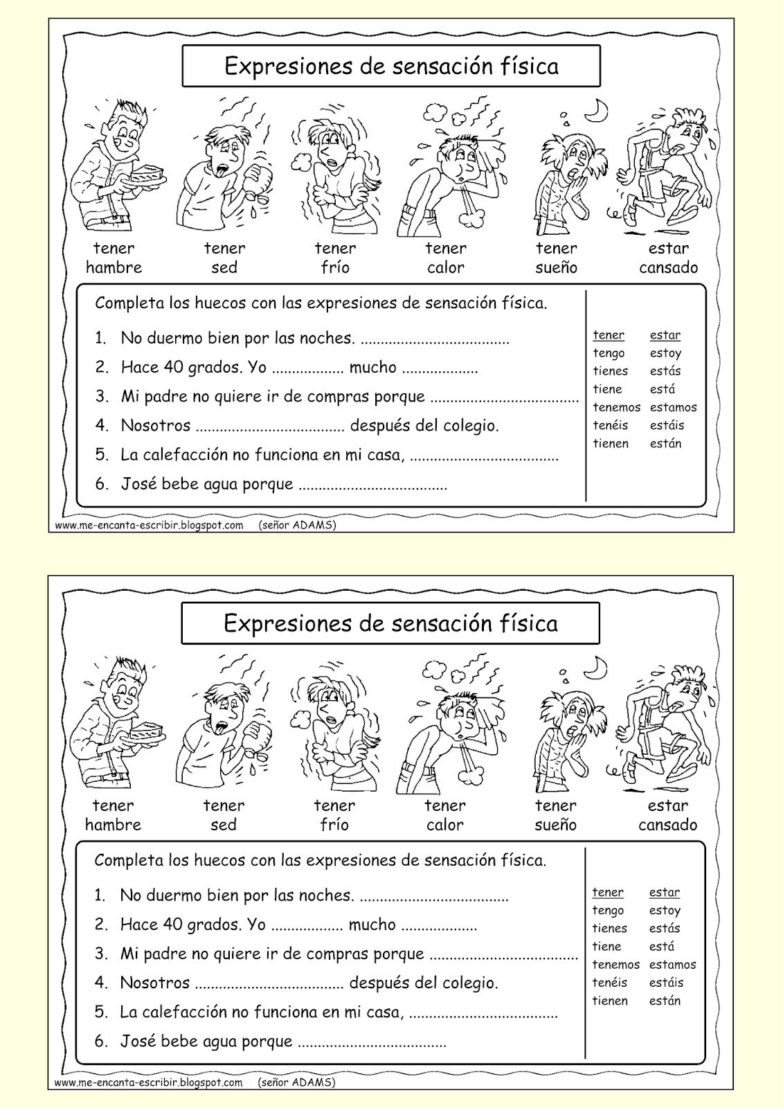 worksheet Tener Expressions Worksheet 17 best images about tener ser estar hay on pinterest language salud and student centered resources